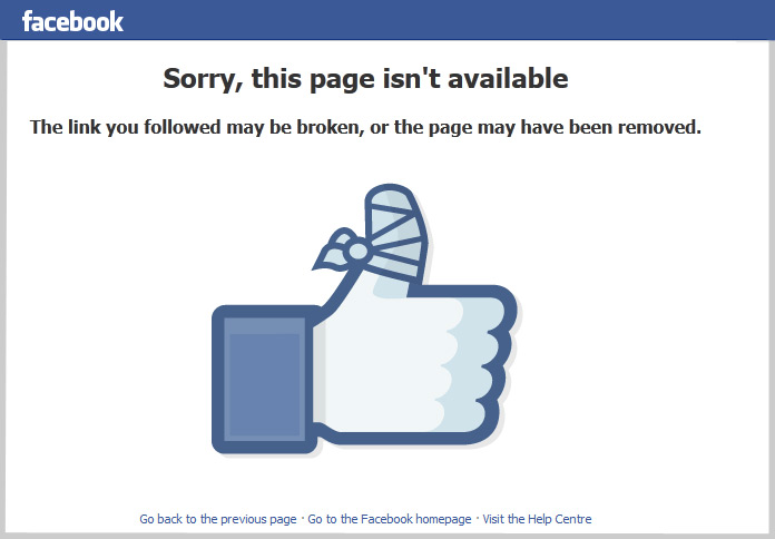 Example of Facebook page taken down