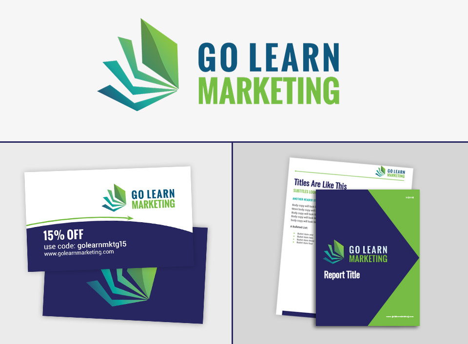 go learn marketing logo report and business card design
