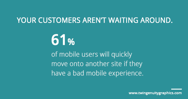 61 percent of mobile users will move leave your site if they have a bad mobile experience