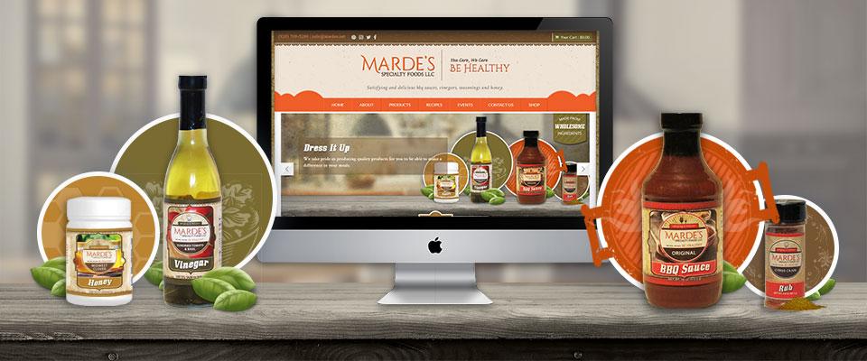mardes website and product label design mockup