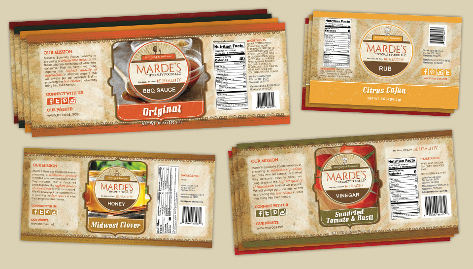 mardes product labels for bbq sauce, rub, honey and vinegars