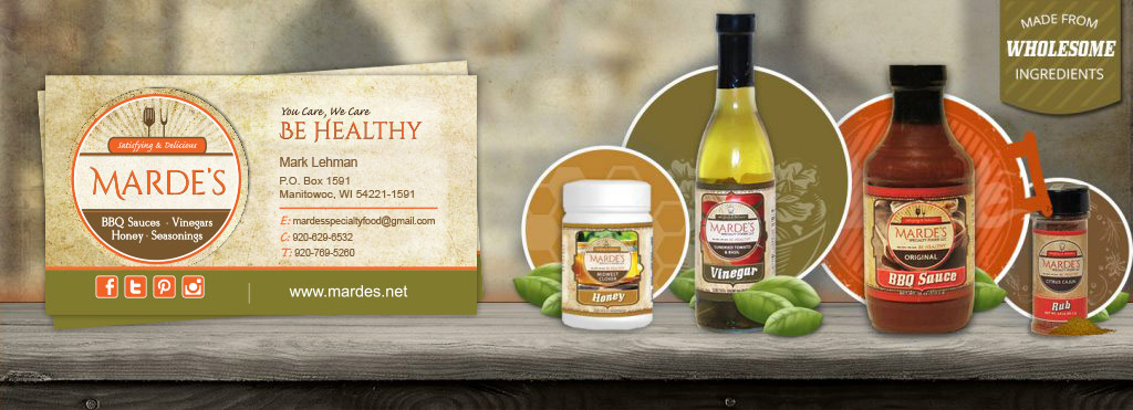 mardes product labels and business cards