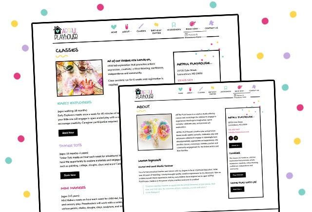 artful playhouse inner website page layouts