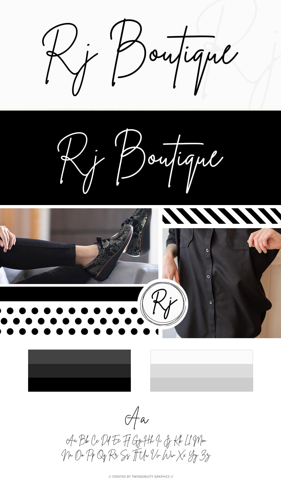 branding board rj boutique logo design