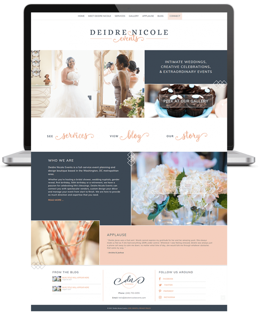 deidre nicole events website design
