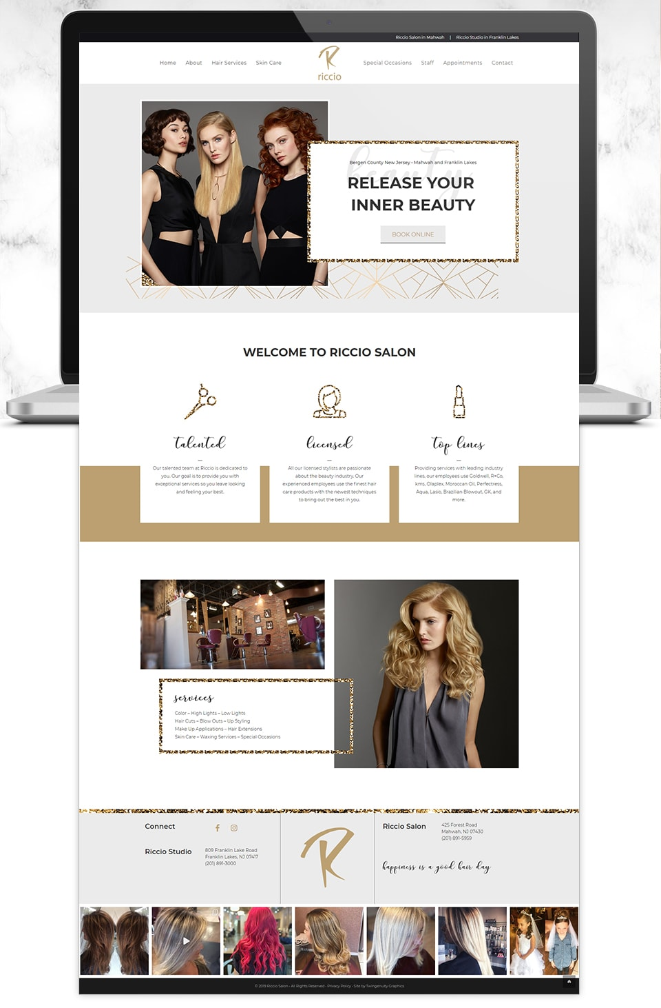 riccio salon website design home page