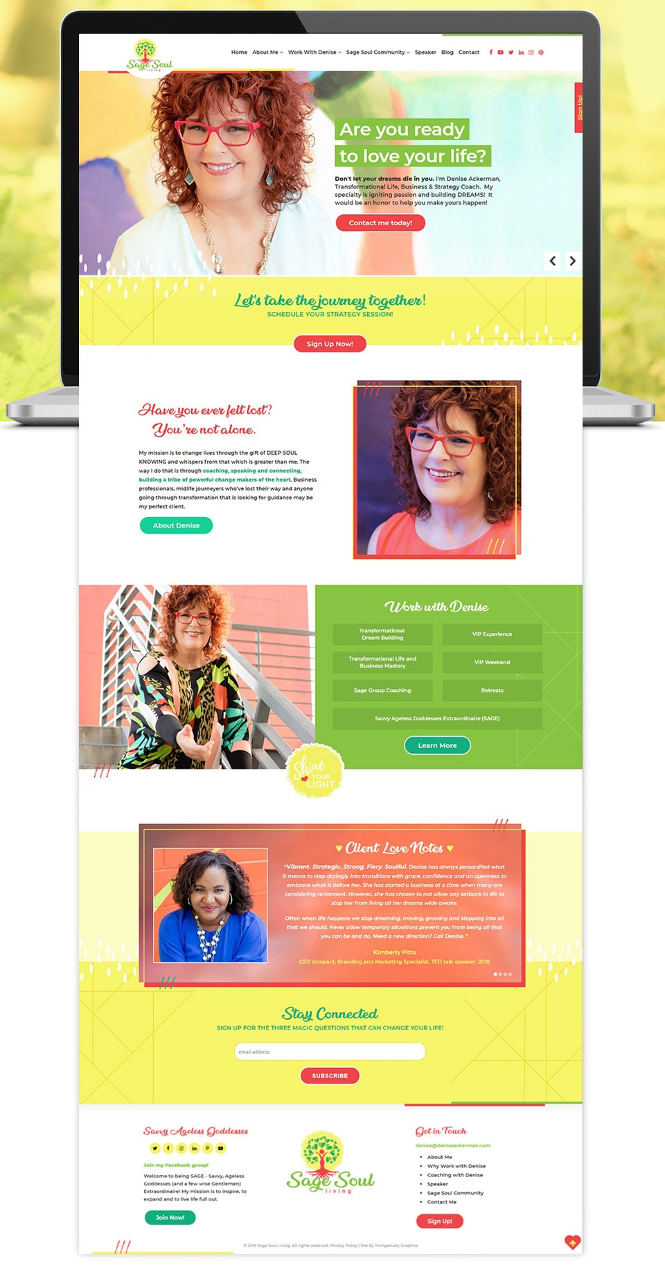 sage soul living home page website design