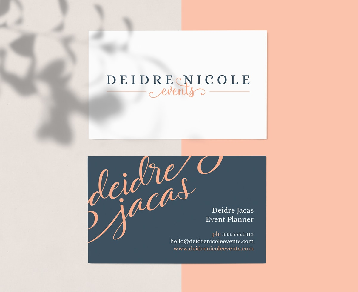 business cards design for feminine event planner