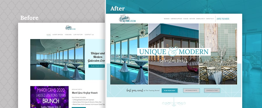 events venue before and after website design