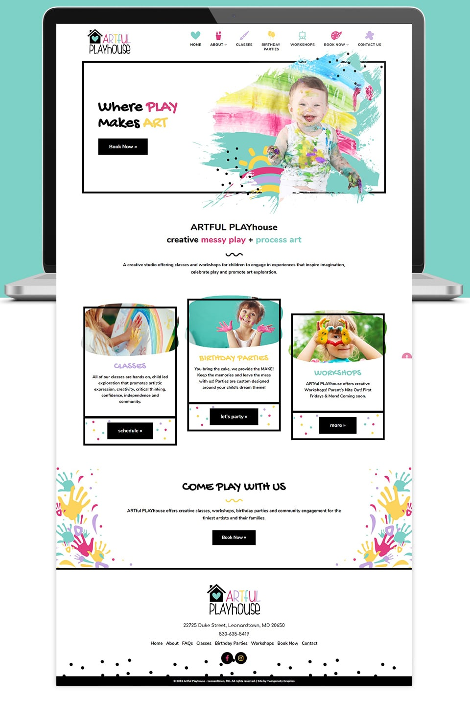 artful playhouse website home page layout