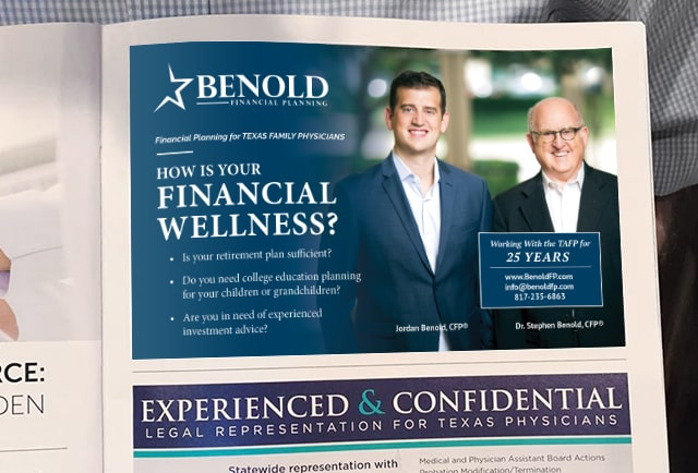 benold financial planner magazine advertisement design