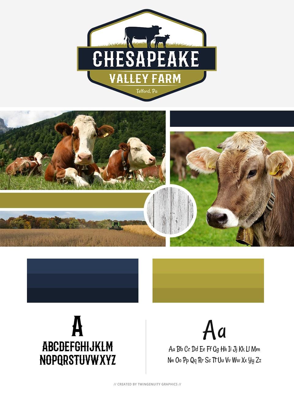 branding board chesapeake valley farm logo