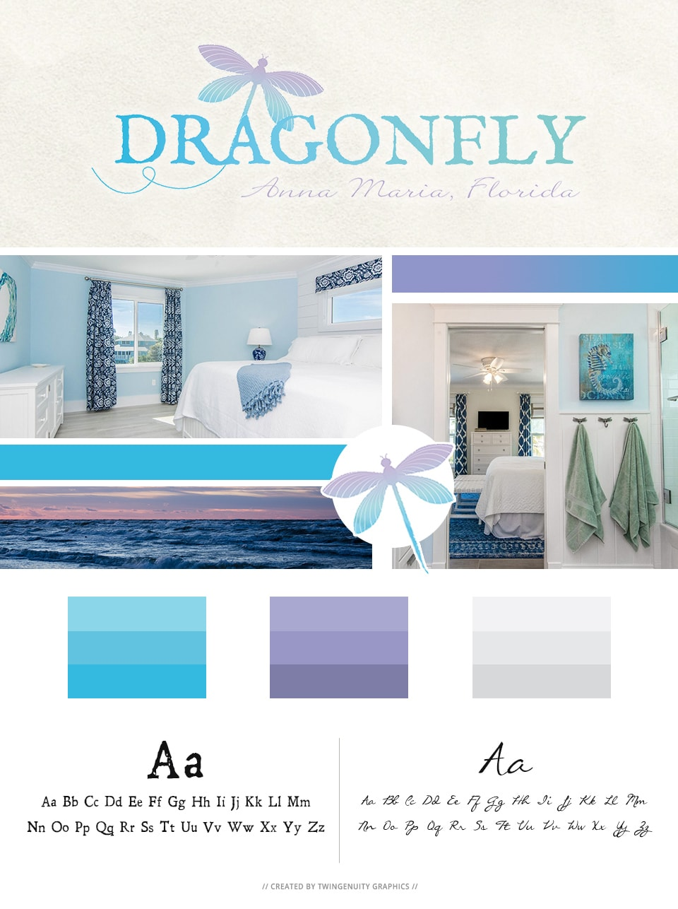 branding board for dragonfly vacation homes