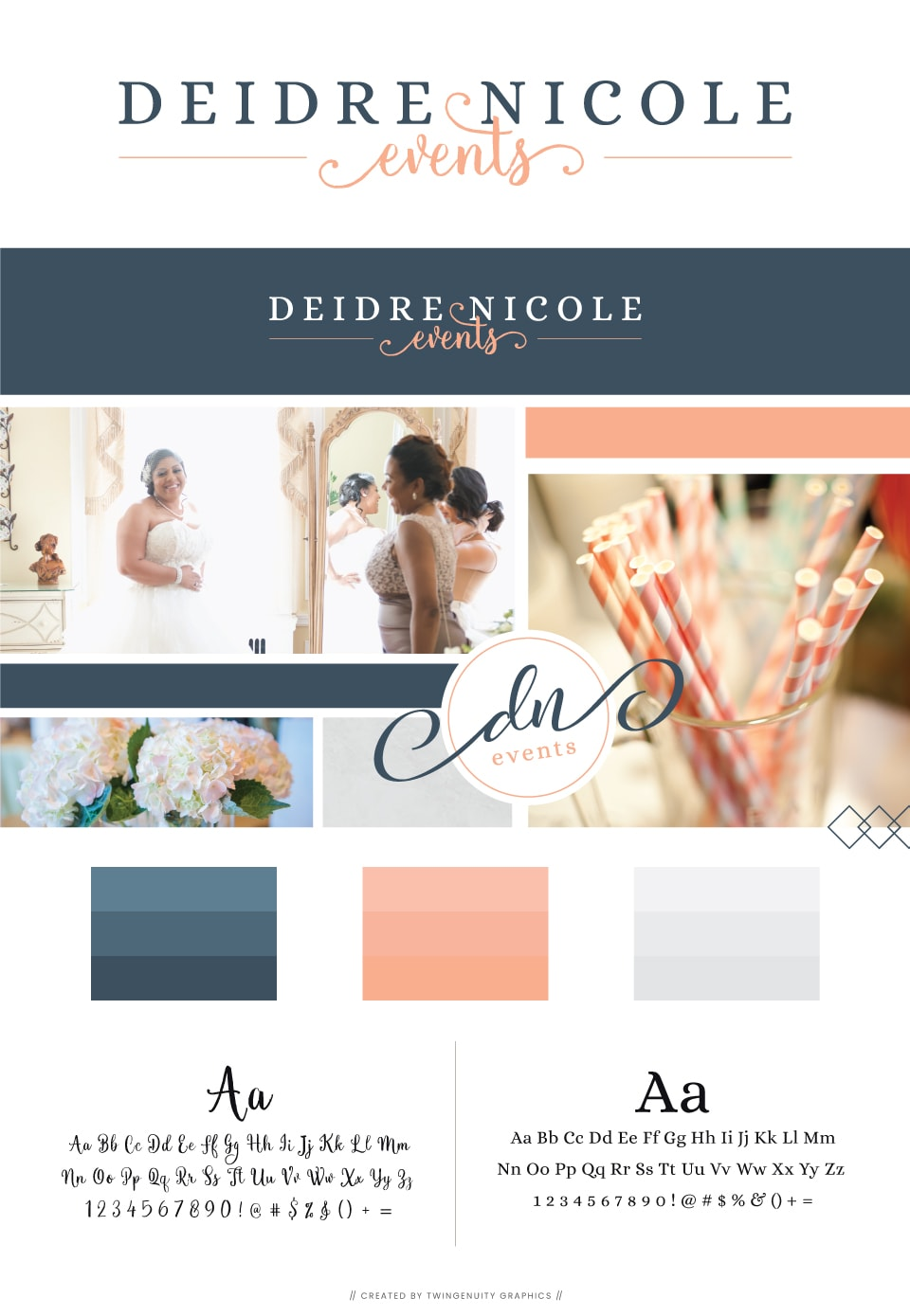 deidre nicole events branding board