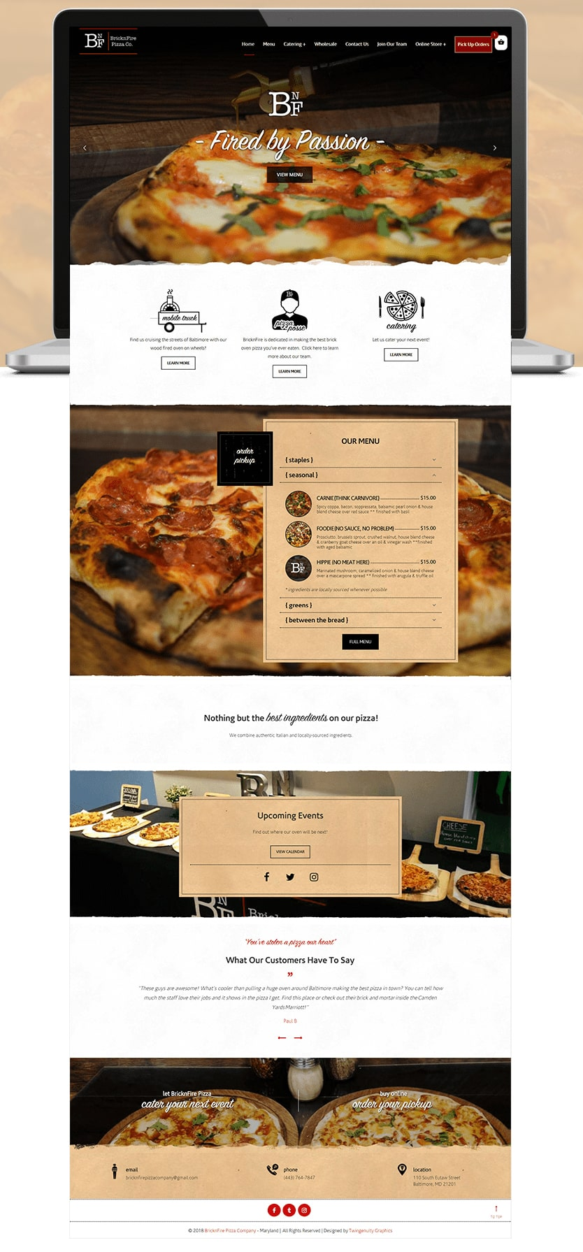 bricknfire pizza wordpress website