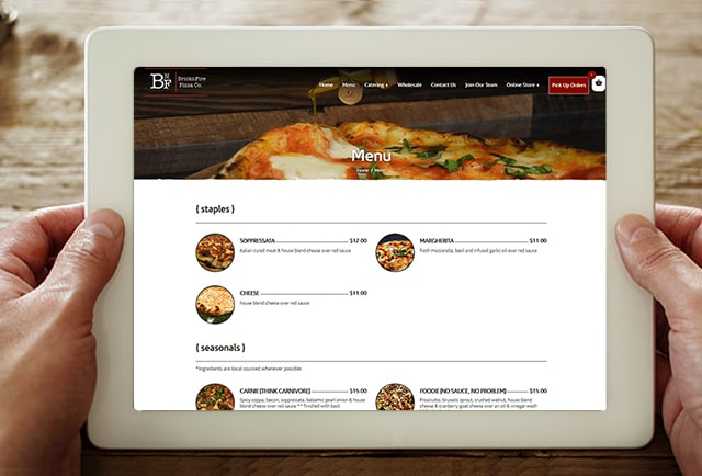bricknfire pizza menu page on website