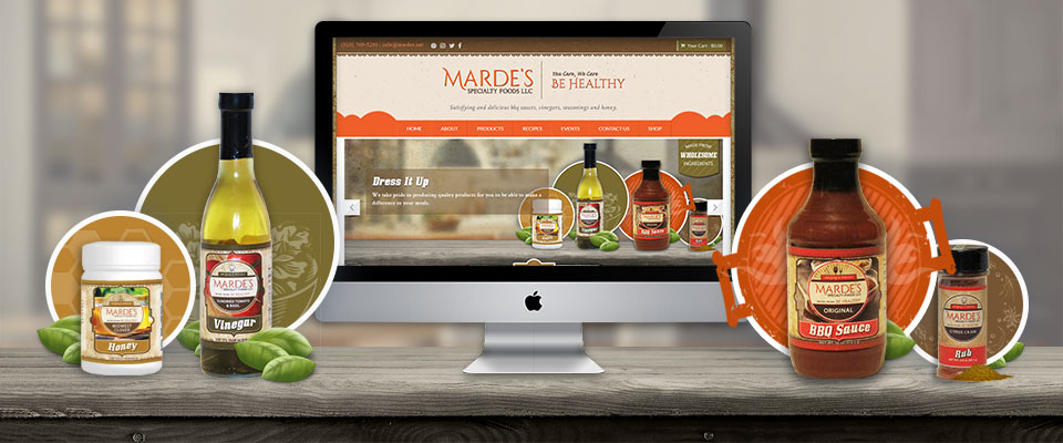 Marde's Specialty Foods website and print designs