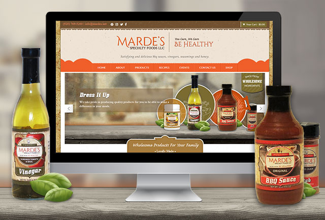 mardes food website development, product labels and print items