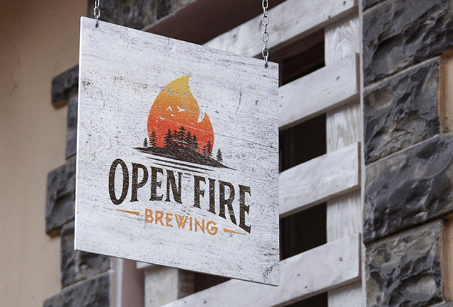 micro brewing logo on hanging sign