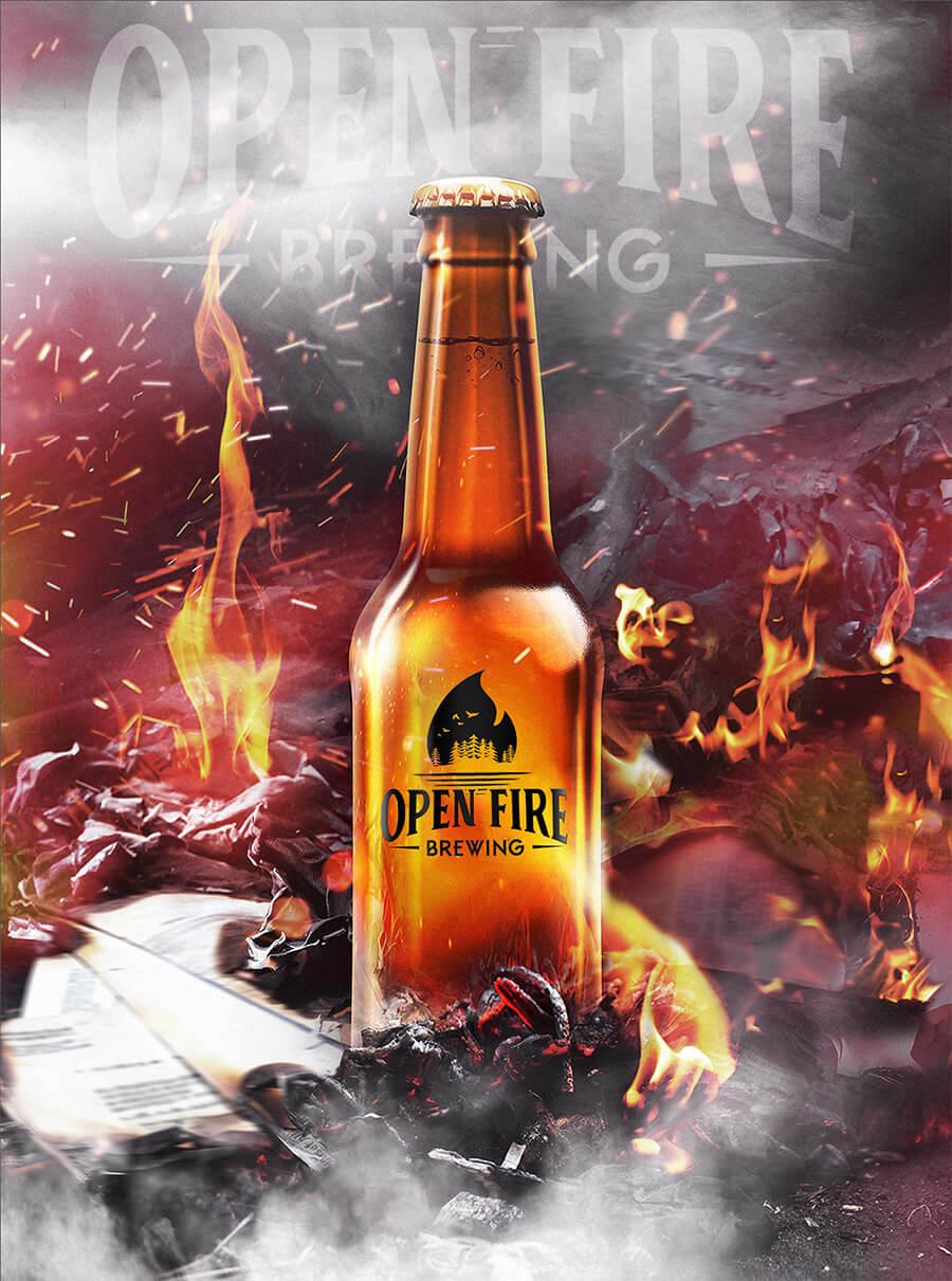 open fire brewing beer bottle mockup