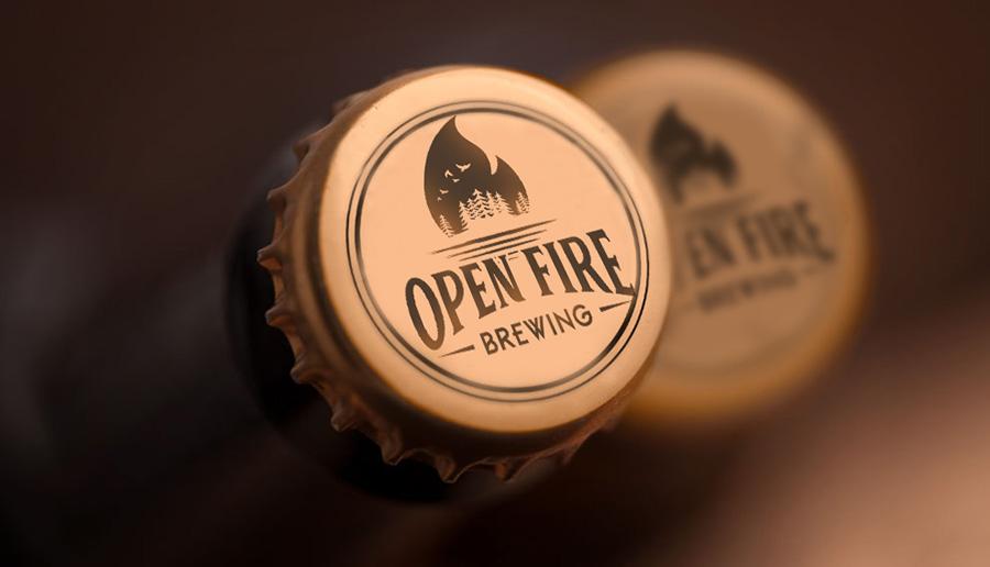 open fire brewing beer cap design