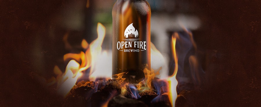 open fire brewing logo bonfire