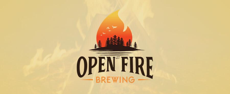 open fire brewing logo design banner