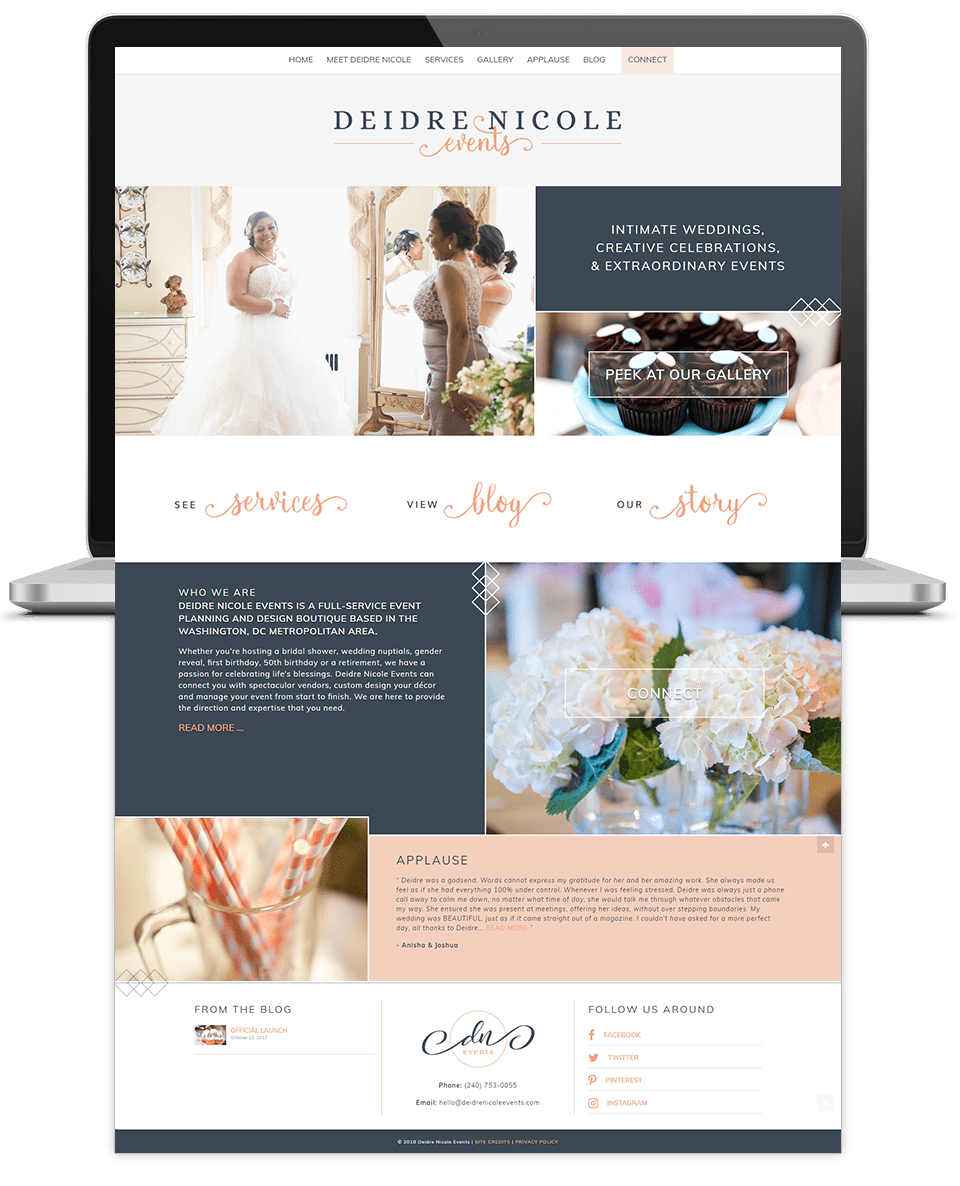 deidre event planner website design home page