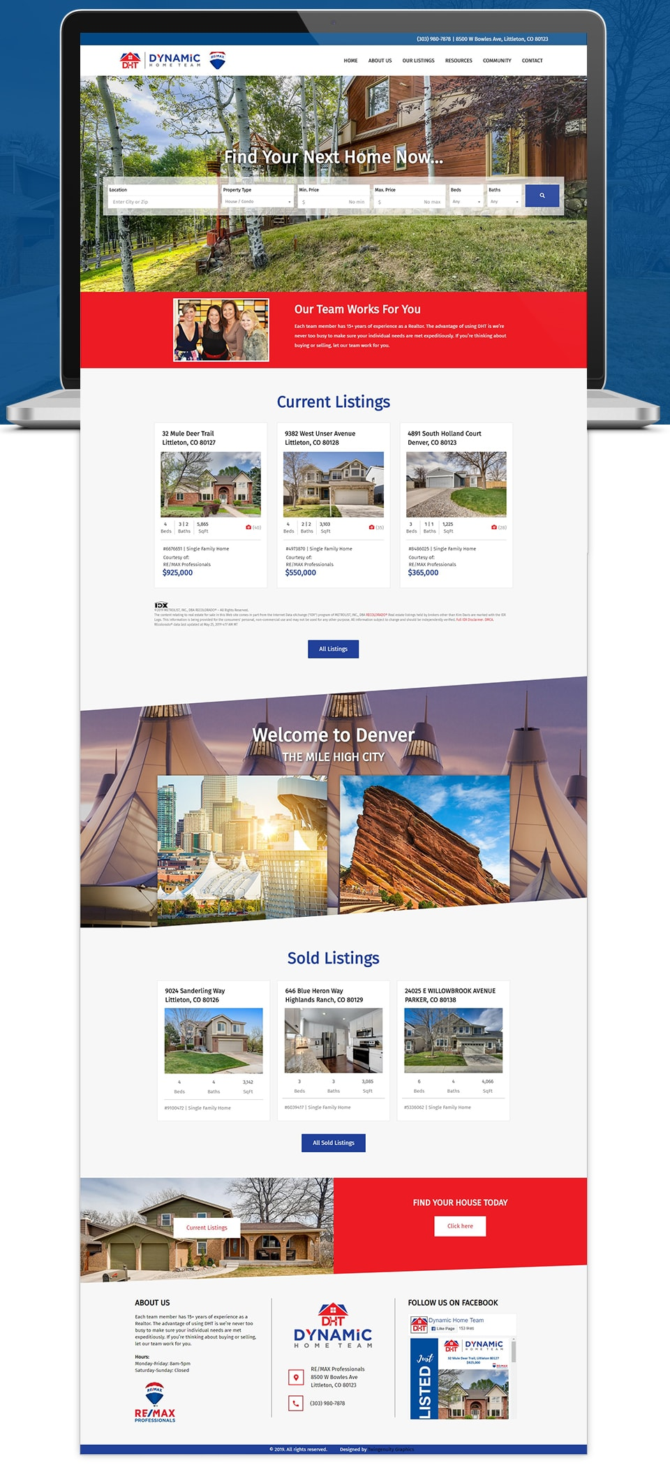 dynamic home team realtors website home page