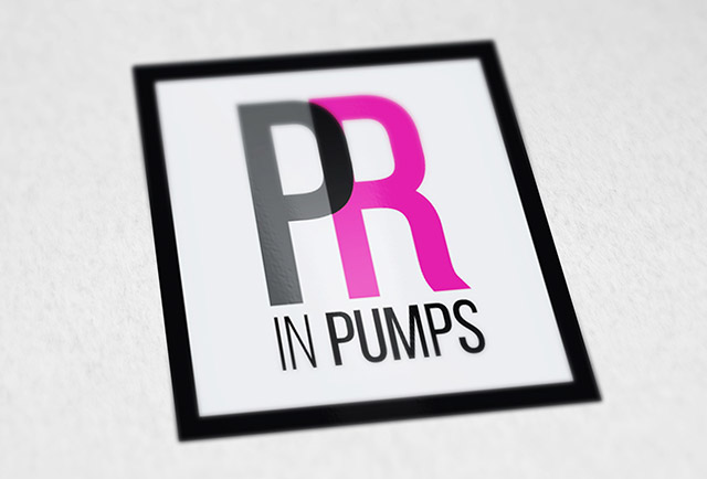 pr in pumps feminine pr agency logo design
