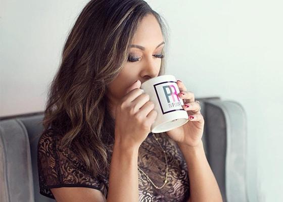 pr in pumps logo on coffee mug