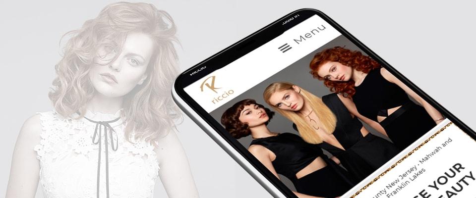 riccio salon mobile website design