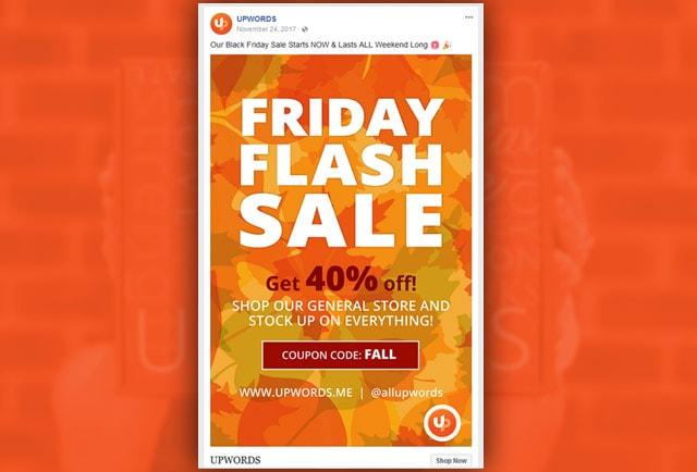 upwords flash sale ad design