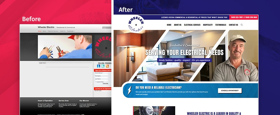 wheeler electric before and after web redesign