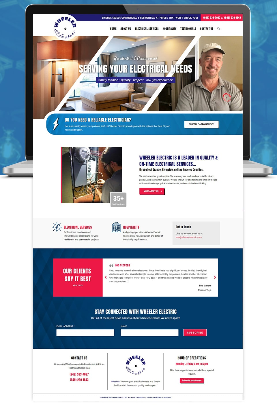 wheeler electric home page website redesign