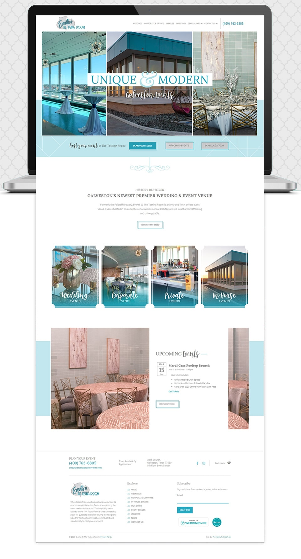 events at the tasting room home page website design