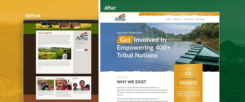 before and after non profit website redesign