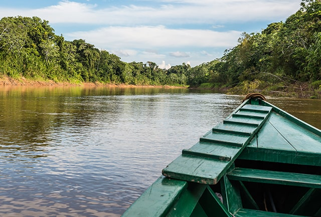 boat on amazon river