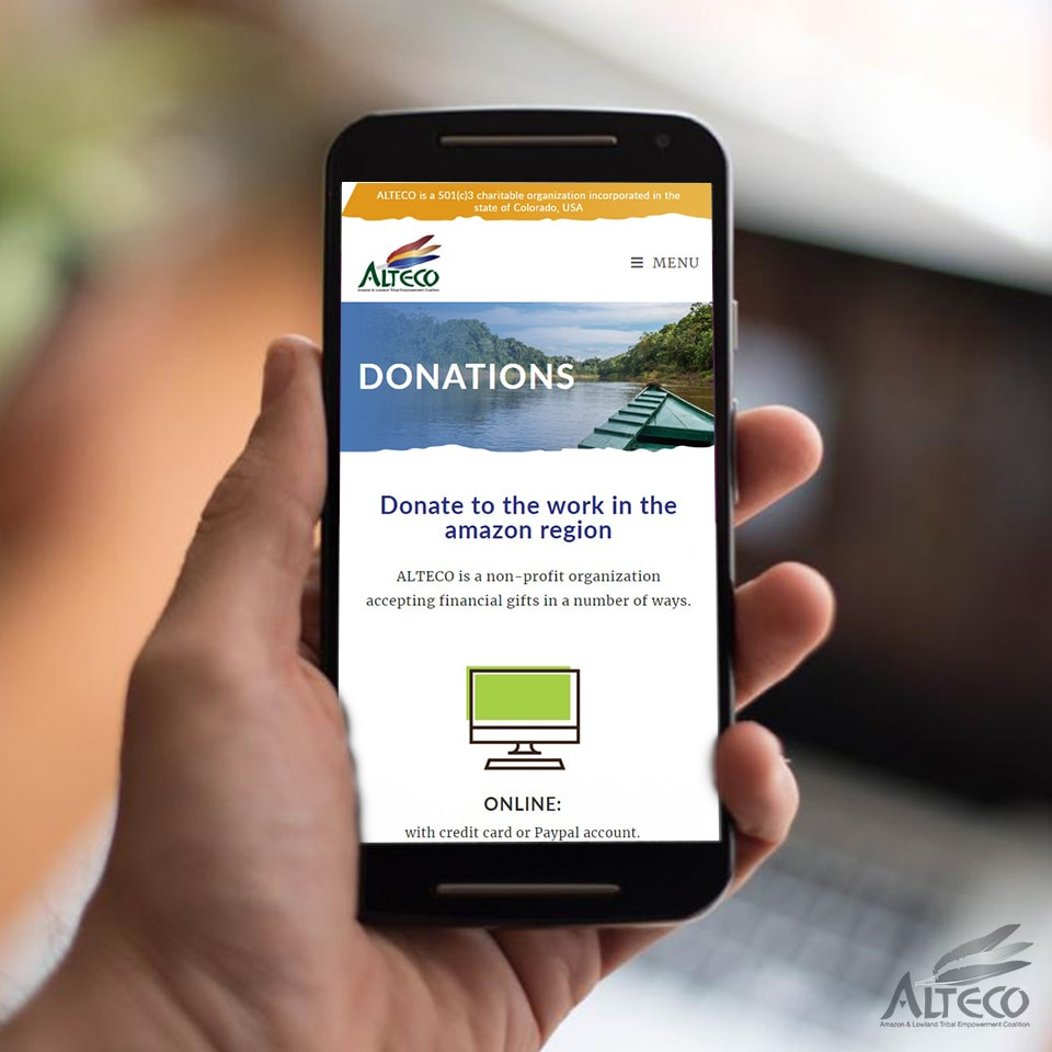 non profit donations mobile view of web page