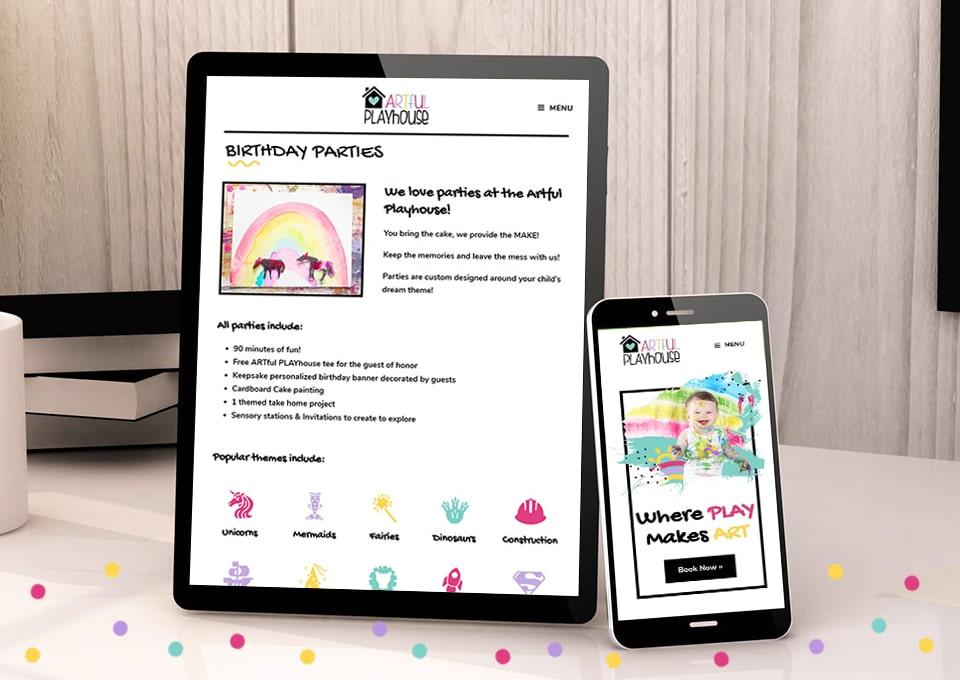 artful playhouse mobile responsive web design