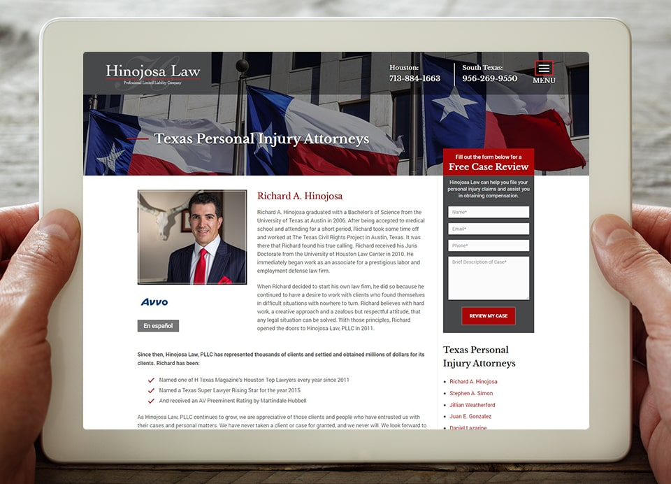 hinojosa law attorney web page bio