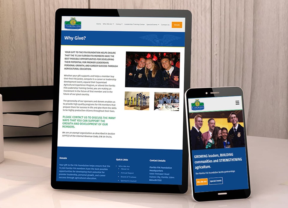 mobile responsive non profit website development for florida ffa foundation
