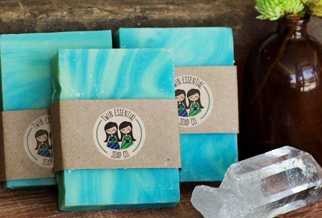 twin essentials logo on soap