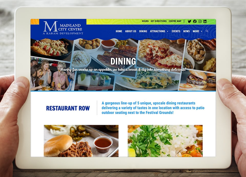 MCC Dining restaurants web page layout