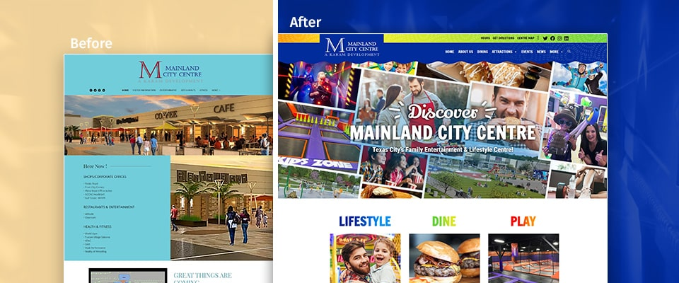 Mainland City Centre Before and After Website Design