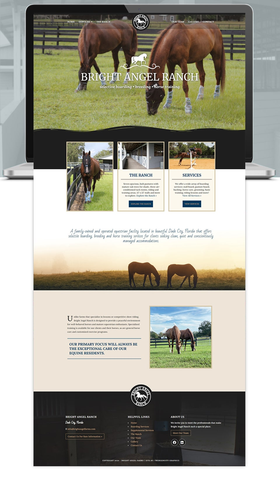 Bright Angel Ranch website home page design
