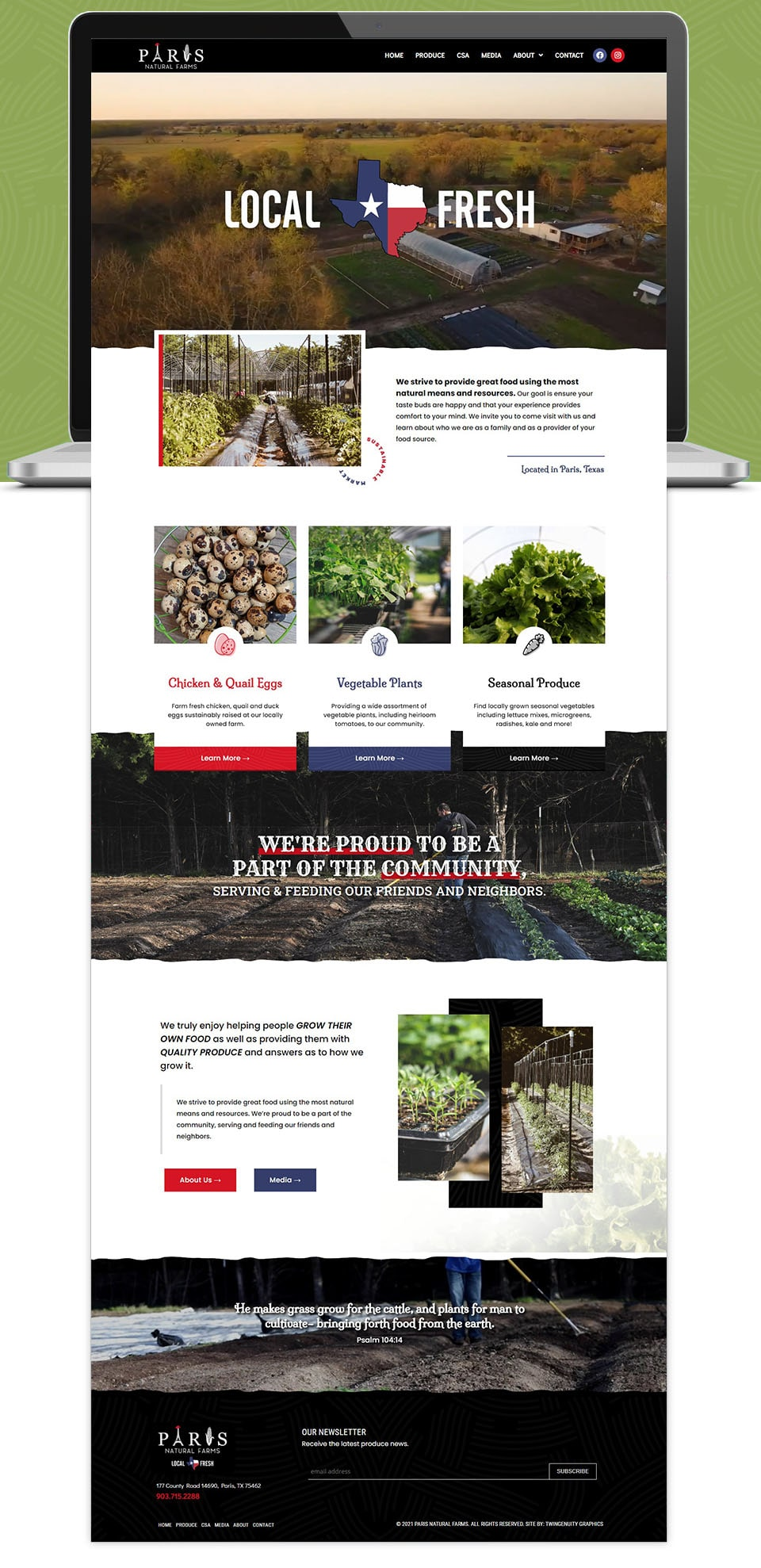 PNF website home page design green