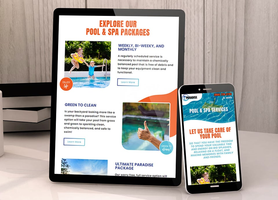 Paradise-pool website design 1