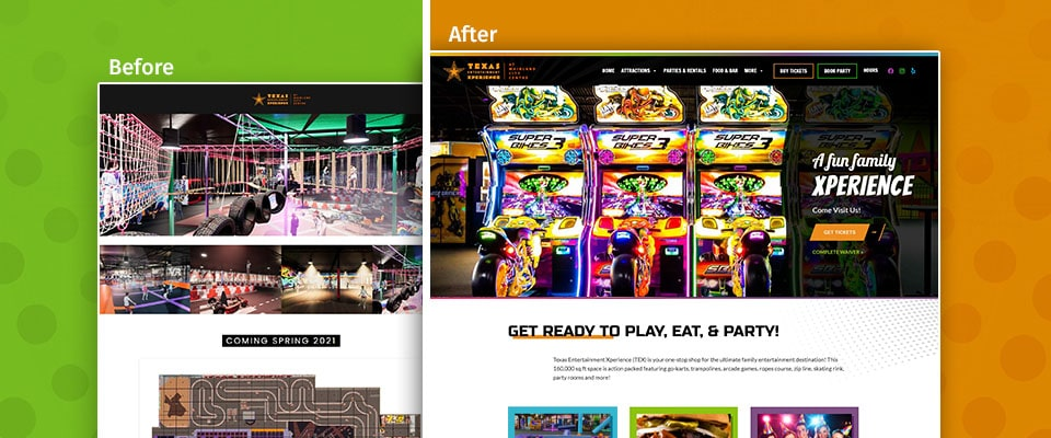 TEX before and after website design