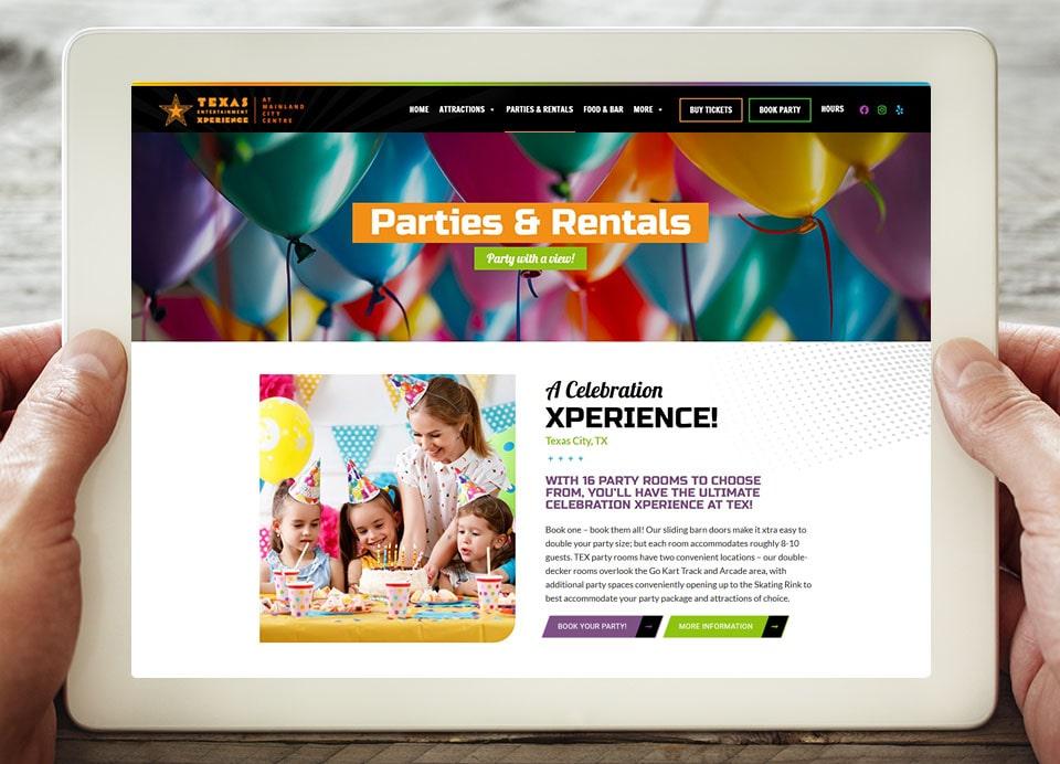 party rentals web page design